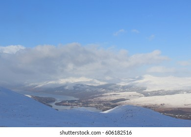 The Ben Nevis Range in February 2015. Fort William, Scotland UK