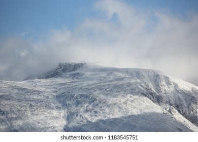 Ben Nevis in winter showing the path to the summit.