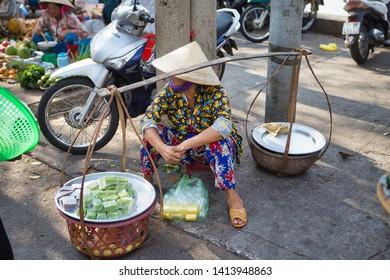 Ben Tre, Vietnam - March 18, 2019: Ben Tre Market