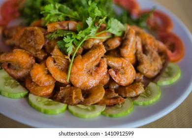Ben Tre, Vietnam - March 22, 2019: Stew Shrimp w Coconut Milk (Tép rang dừa)