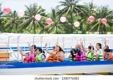 Ben tre, Vietnam - October 06 2018: Rowing at an ecotourism in Ben Tre - Tien Giang. This is a tourist destination that foreigners love to visit while being in Vietnam.
