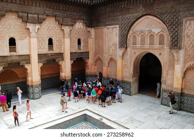 Ben Youssef Madrasa, Marrakech, Morocco - April 15, 2015: Founded by the Merenid Sultan Abou el Hassan in the 14th century. Madrasa is equipped with 132 rooms.