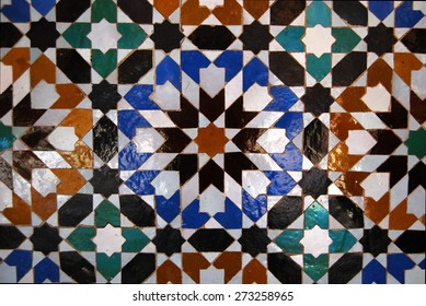 Ben Youssef Madrasa, Marrakech, Morocco - April 15, 2015: Founded by the Merenid Sultan Abou el Hassan in the 14th century. Details of Moroccan tiles.