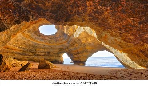 Benagil Cathedral at beautiful coast of Algarve, Portugal.