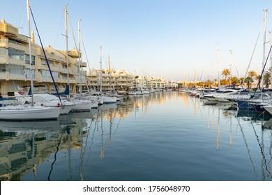 Benalmadena, Spain - January 6 2020: The beautiful marina with luxury yachts and motor boats in Puerto Marina in Benalmadena