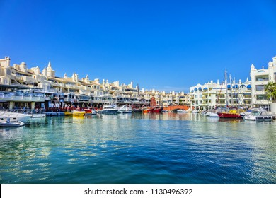 BENALMADENA, SPAIN - JUNE 1, 2018: Marina View. Benalmadena Marina is the most astonishing port and residential complex in Europe. Its architecture mixes Indian, Arabic and Andalusian features.