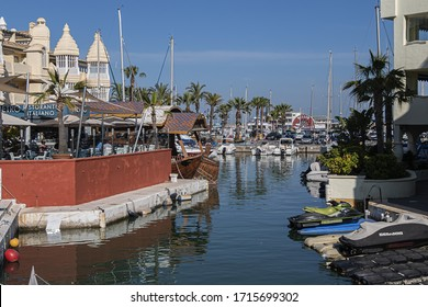 BENALMADENA, SPAIN - JUNE 1, 2018: View of famous Benalmadena Marina. Marina is most astonishing port and residential complex in Europe. Its architecture mixes Indian, Arabic and Andalusian features.