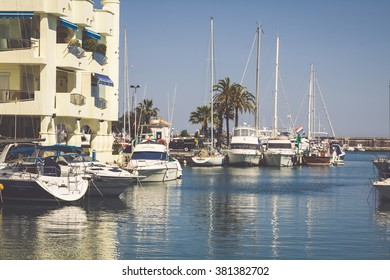 BENALMADENA, SPAIN - MAY 5,2013: view of Puerto Marina in Benalmadena,Costa del Sol Malaga, Spain. This marina has berths for 1100 boats. It was opened on 1987.