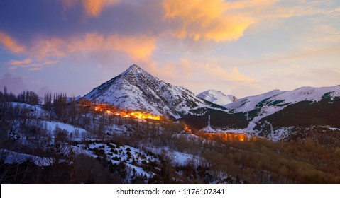Benasque village Benas sunset aerial view in Huesca Pyrenees of Spain