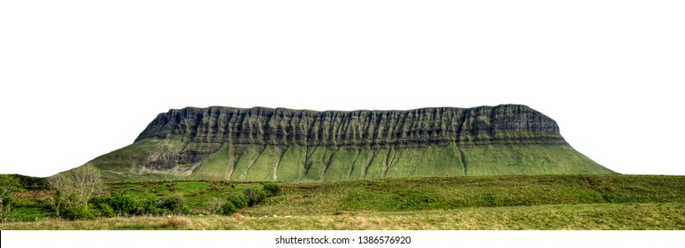Benbulbin, sometimes spelled Ben Bulben or Benbulben (from the Irish: Binn Ghulbain), is a large flat-topped rock formation in County Sligo, Ireland. Isolated on white background.