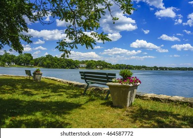 Bench with a beautiful view at Stamford, a city in Fairfield County, Connecticut, United States of America.