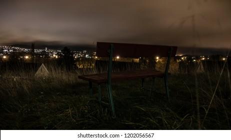 Bench by night Trondheim