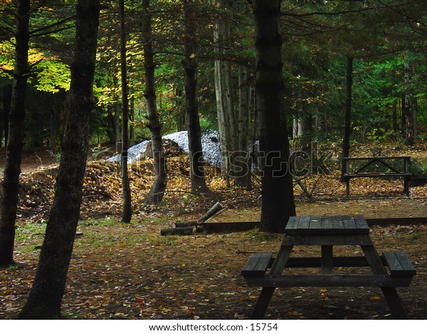 Bench at a camping site, in Vermont