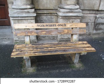 A bench in Cape Town during the apartheid period placed outside the High Court Civil Annex. Even benches were reserved to whites only of non white only