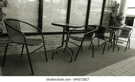 Bench chair outside cafe