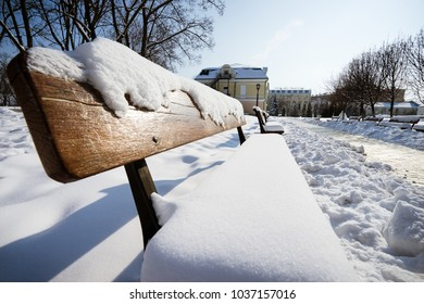 Bench covered with snow