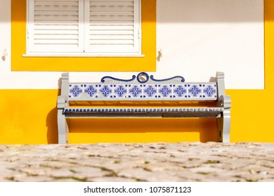 Bench decorated with traditional tiles called azulejos, Portugal