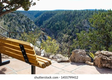Bench enjoying the view in Walnut Canyon National Monument in Flagstaff Arizona