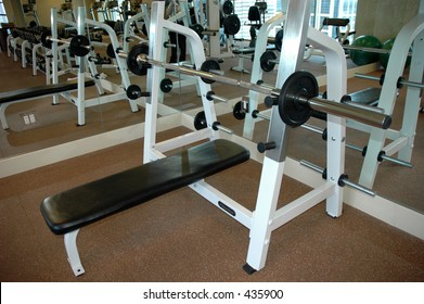 Bench in an exercise room