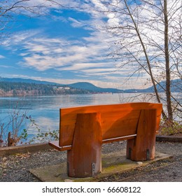 A bench with gorgeous view at ocean, British Columbia, Canada.