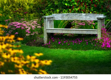 Bench with green grass and flowers.  idyllic scene with nobody in shot.