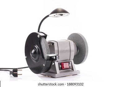 Bench grinder with lamp isolated on white background
