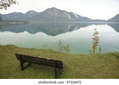 bench at lake