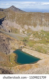 Bench Lake formed by a natural rock dam in the Sangre De Cristo Mountains in Colorado