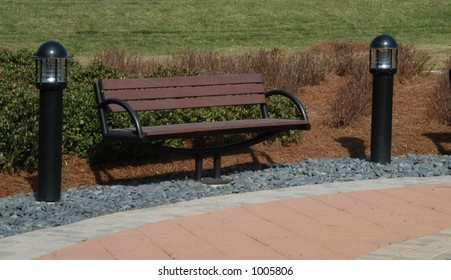 bench with lights around it