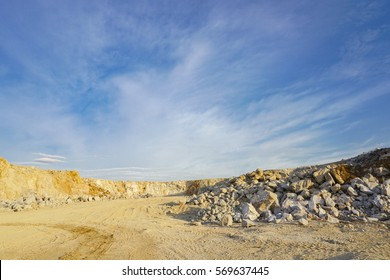 Bench of limestone in quarry, mining