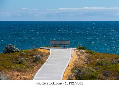 Bench looking outwards to the ocean at a scenic lookout at Dynamite Bay in Green Head in Western Australia