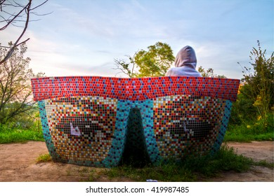 Bench made to look like eyes and glasses. Park in kiev Ukraine