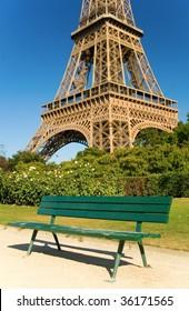 Bench near the Eiffel Tower