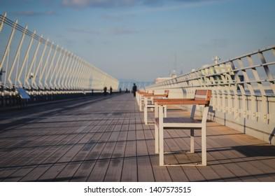 Bench at the observation deck in Chubu Centrair International Airport, Nagoya, Japan, 16 November 2018