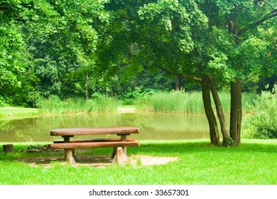 bench on the bank of a small lake
