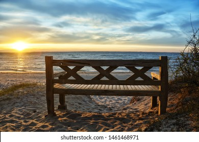 Bench on a beach at the the baltic sea