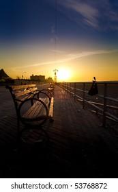 Bench on Coney Island Boardwalk