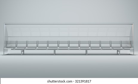 The bench on grey background