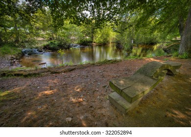 Bench on Ness Islands in Inverness, Scotland