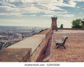 Bench on a rooftop