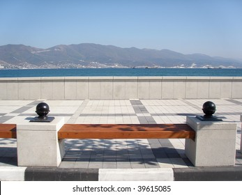 A bench on the sea-front