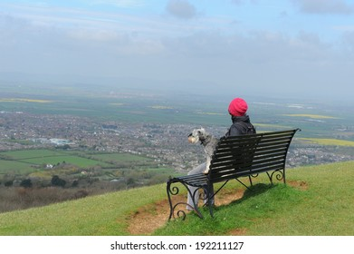 Bench on top of Cleeve Common on Cleeve Hill overlooking Bisop's Cleeve and Cheltenham.  It is a biological and geological site of special scientific interest.