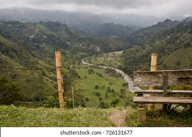 Bench on the top of mountain, Salento, Colombia