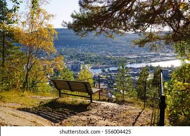 Bench overlooking central Drammen. Autumn