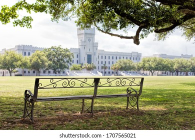 A bench overlooking the green at the Citadel