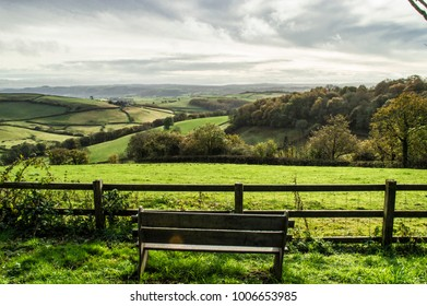 Bench overlooking the hills in Carmarthenshire, Wales, in spring