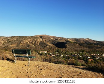 Bench overlooking hills, Peters Canyon, Orange County, CA