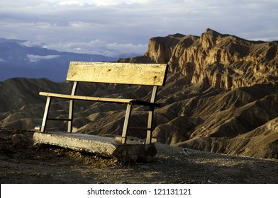 A bench overlooking a mountain vista in Death Valley National Park.