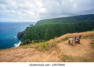 Bench at Pololu Valley in Big Island, Hawaii
