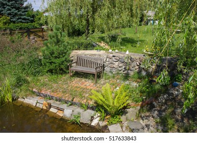 Bench at a pond.